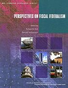 Perspectives on fiscal federalism