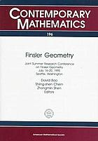 Finsler geometry : Joint Summer Research Conference on Finsler Geometry, July 16-20, 1995, Seattle, Washington