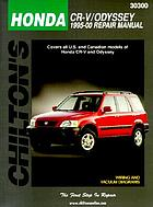 Honda CR-V/Odyssey 1995-2000 repair manual covers all U.S. and Canadian models of Honda CR-V and Odyssey