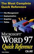 Microsoft Word 97 quick reference