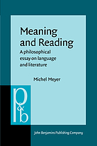 Meaning and reading : a philosophical essay on language and literature