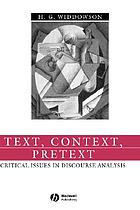 Text, context, pretext : critical issues in discourse analysis