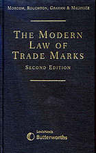 The modern law of trade marks.