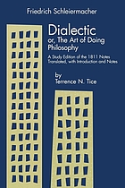 Dialectic, or, The art of doing philosophy : a study edition of the 1811 notes