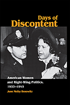 Days of discontent : American women and right-wing politics, 1933-1945