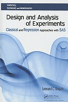 Design and Analysis of Experiments: Classical and Regression Approaches with SAS cover image