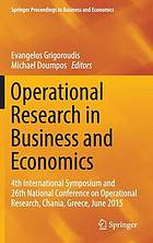 Operational research in business and economics : 4th international.