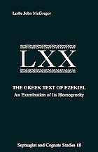 The Greek text of Ezekiel : an examination of its homogeneity