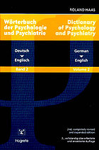 Dictionary of psychology and psychiatry : English-German = Wörterbuch der Psychologie und Psychiatrie : Englisch-Deutsch