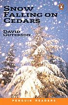 Snow falling on cedars