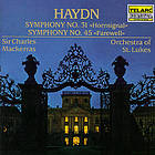 Symphony no. 31 : Hornsignal : in D major = en ré majeur = in D-dur ; Symphony no. 45 : Farewell : in F-sharp minor = en fa dièse mineur = in Fis-moll