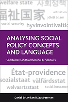 Analysing Social Policy Concepts and Language: Comparative and Transnational Perspectives cover image