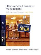 Effective small business management : an entrepreneurial approach