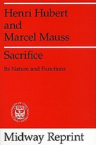 Sacrifice : its nature and function