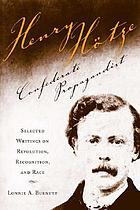 Henry Hotze, Confederate propagandist : selected writings on revolution, recognition, and race