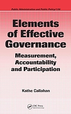 Elements of effective governance : measurement, accountability and participation