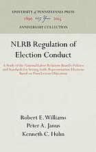 NLRB regulation of election conduct; a study of the National Labor Relations Board's policies and standards for setting aside representation elections based on postelection objections,