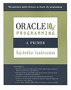 Oracle 10g programming : a primer