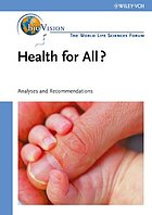 Health for all : agriculture and nutrition, bioindustry and environment : analyses and recommendations