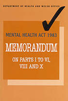 Mental Health Act 1983 : memorandum on parts I to VI, VIII and X