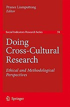Doing Cross-Cultural Research: Ethical and Methodological Perspectives cover image