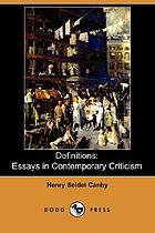 Definitions : essays in contemporary criticism