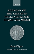 Economy of the sacred in Hellenistic and Roman Asia Minor