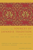 Sources of Japanese tradition. Volume 2, 1600 to 2000.