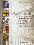 Parliaments as peacebuilders in conflict-affected countries