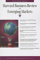 Harvard business review on emerging markets.