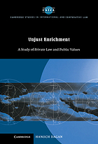Unjust enrichment : a study of private law and public values