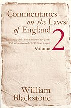 Commentaries on the laws of England : a facs. of the 1st ed. of 1765-1769 [Oxford]. 1 Of the rights of persons.
