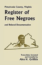 Pittsylvania County, Virginia, register of free Negroes and related documentation