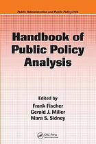 Handbook of Public Policy Analysis: Theory, Politics, and Methods cover image