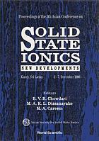 Solid state ionics : new developments : Kandy, Sri Lanka, 2-7, December 1996