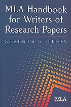 MLA handbook for writers and research papers.