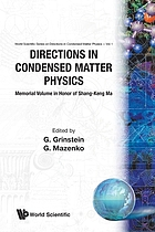 Directions in condensed matter physics : memorial volume in honor of Shang-keng Ma