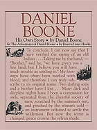 Daniel Boone, his own story