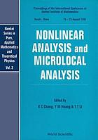 Nonlinear analysis and microlocal analysis : proceedings of the International Conference at Nankai Institute of Mathematics, Tianjin, China, 18-23 August 1991