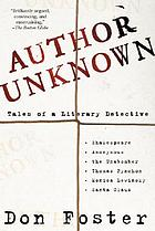 Author unknown : on the trail of anonymous