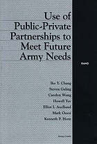 Use of public-private partnerships to meet future Army needs