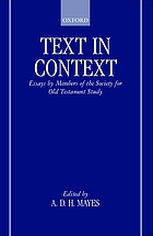 Text in context : essays by members of the Society for Old Testament Study