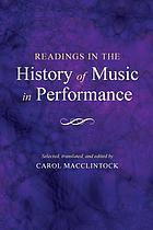 Readings in the history of music in performance