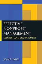Effective nonprofit management : context and environment
