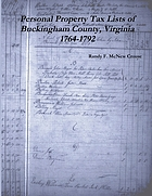 Personal property tax lists of Buckingham County, Virginia, 1764-1792 : including a biographical memorial of Rolfe Eldridge
