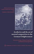 Aesthetics and the art of musical composition in the German Enlightenment : selected writings of Johann Georg Sulzer and Heinrich Christoph Koch