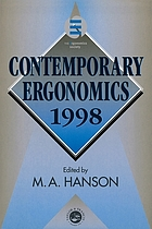 Contemporary ergonomics 1998 : proceedings of the Annual Conference of the Ergonomics Society, Royal Agricultural College, Cirencester, 1-3 April 1998