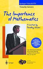The importance of mathematics : Clay Mathematics Institute, millennium meeting, Collège de France, Paris, May 24-25, 2000