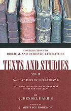 Codex Bezae; a study of the so-called western text of the New Testament