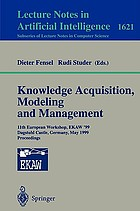 Knowledge acquisition, modeling and management : 11th European Workshop, EKAW '99, Dagstuhl Castle, Germany, May 26-29, 1999 : proceedings